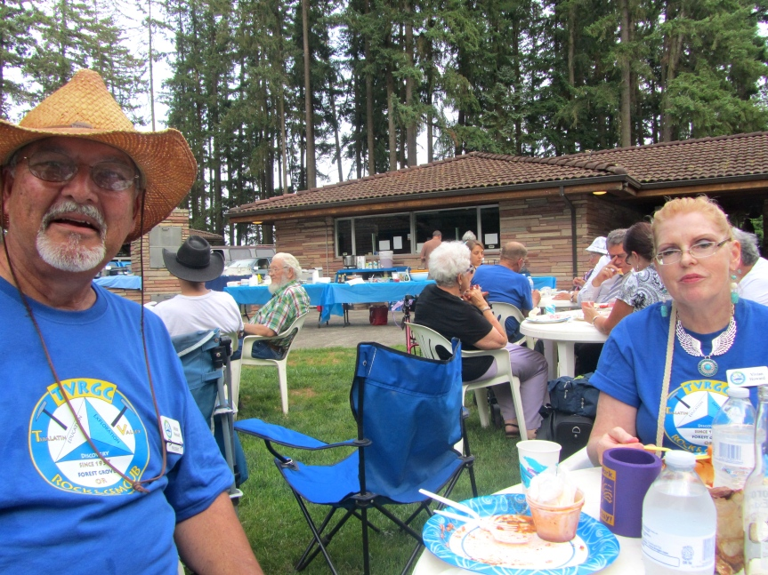 Tualatin Valley Rock and Gem Club at picnic at Rice Northwest Museum in Hillsboro, Oregon.