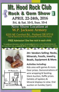 Mt Hood Rock and Gem Show 2016 Flyer