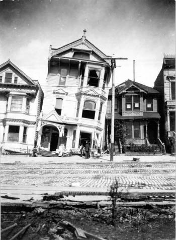 Tilted Victorian Home in San Francisco due to liquefaction - Photograph by G.K. Gilbert of the U.S. Geological Survey